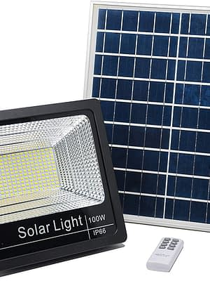 Luz Reflector Solar Led 100w Panel Autónomo Ahorro energia
