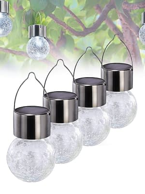 Guirnalda luces solares de jardín decorativas de cristal agrietado