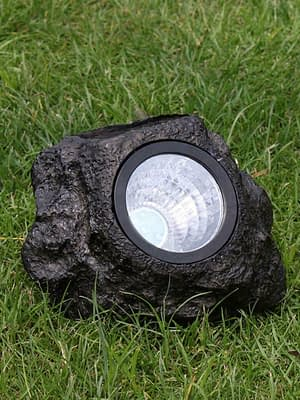 Lampara Luz Led Panel Solar Roca Decoración Jardín Exterior
